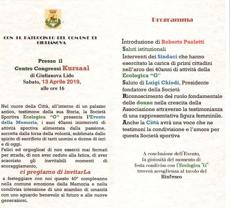 Atletica, l'Ecologica G di Giulianova festeggia 40 anni