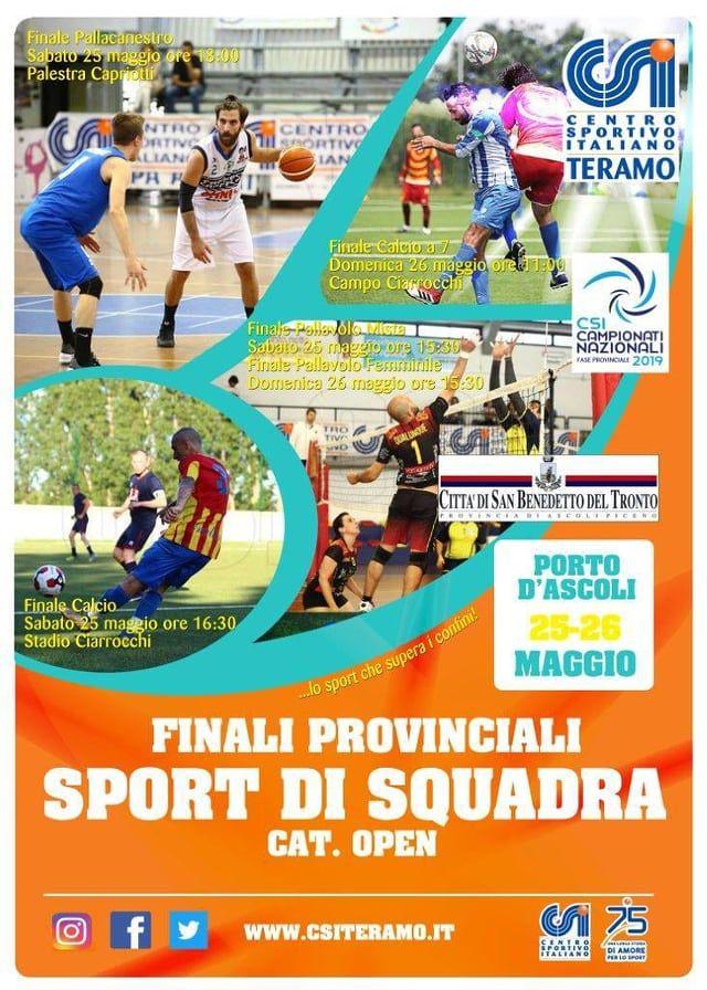 Il Csi Teramo organizza le finali provinciali Open degli sport di squadra a Porto D'Ascoli