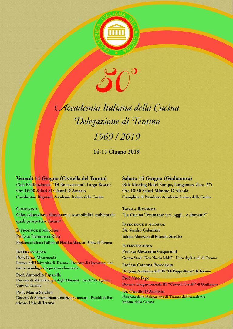 La delegazione di Teramo dell'Accademia italiana della Cucina celebra il cinquantennale in due eventi