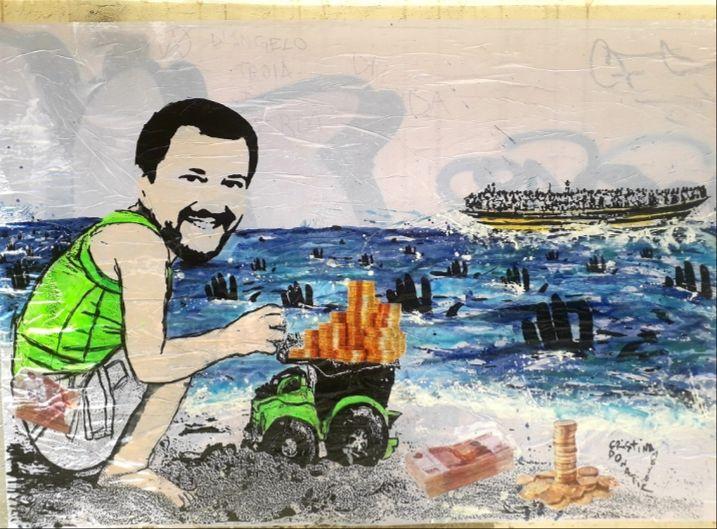 Pescara, il caso dei soldi russi a Salvini in un'opera di street art