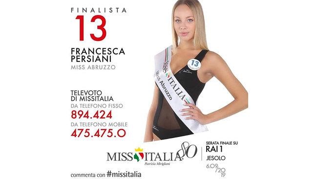 Miss Italia. Questa sera a Jesolo la Finalissima. Per l'Abruzzo votiamo la giuliese Francesca Persiani