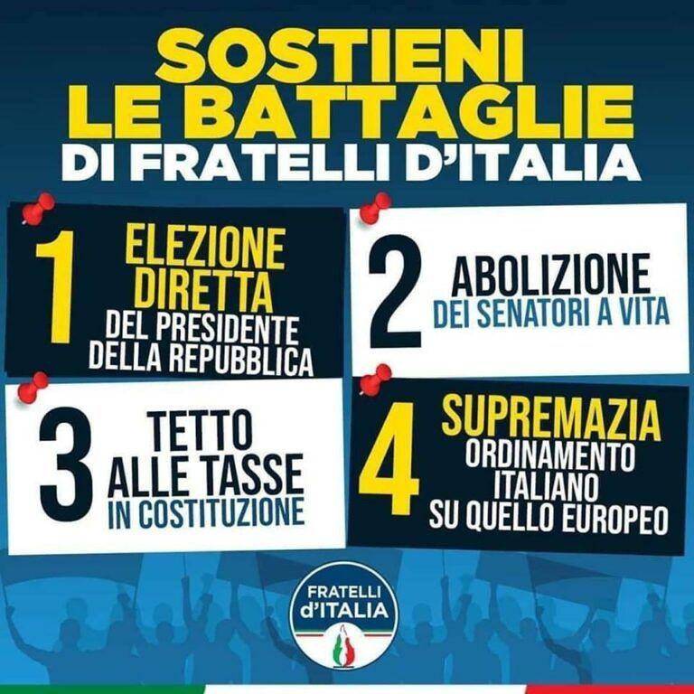 Provincia di Teramo: raccolta firme di Fratelli d'Italia a sostegno delle quattro proposte di legge della Meloni