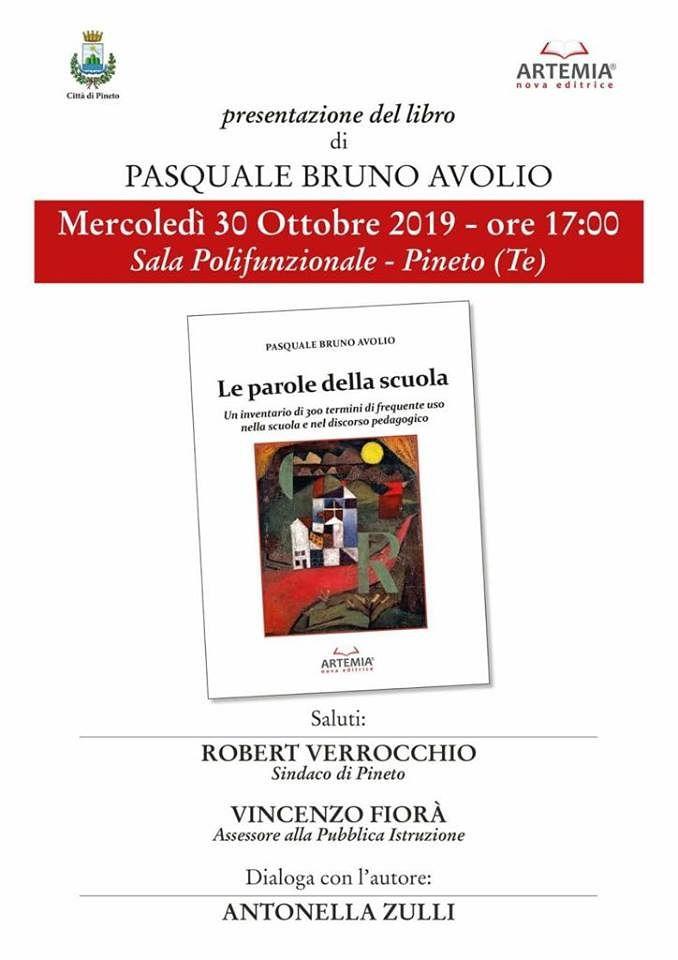 """Pineto, """"Le parole della scuola"""": Pasquale Bruno Avolio presenta il suo libro"""
