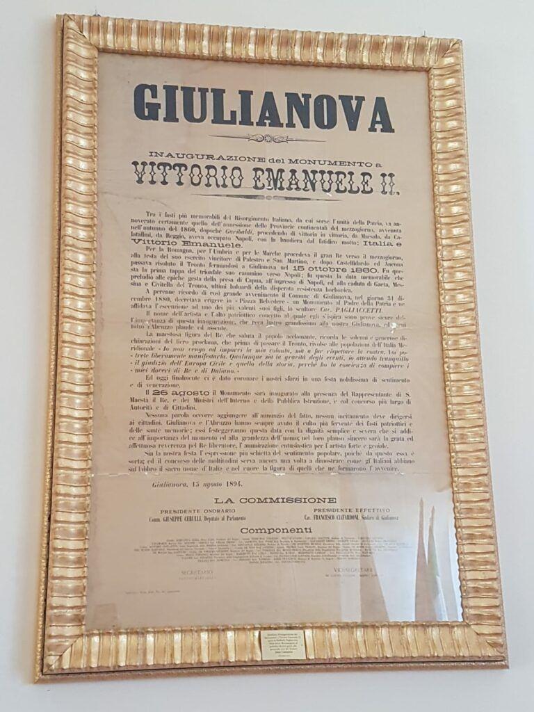 Giulianova, restaurato manifesto inaugurazione del monumento a Vittorio Emanuele II