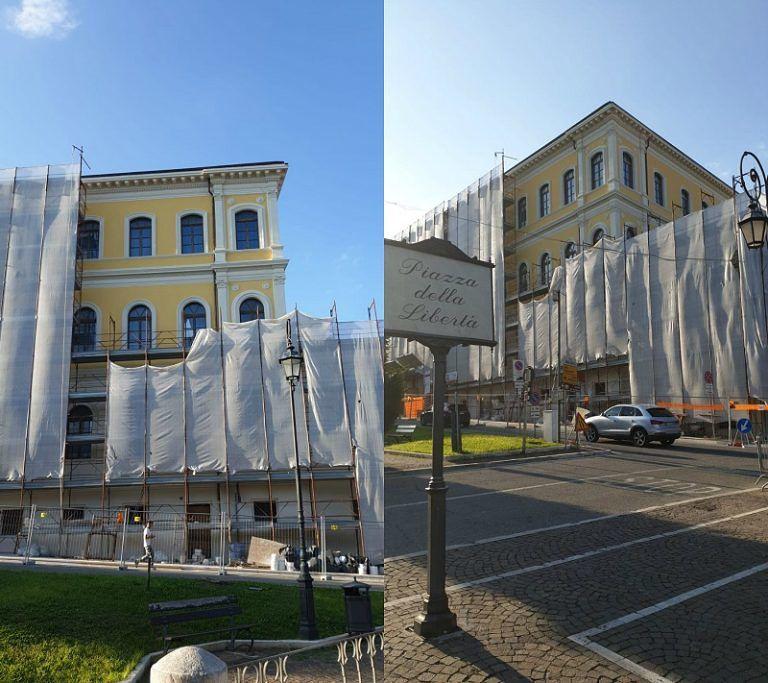 Giulianova, tolte le prime impalcature alla scuola De Amicis FOTO
