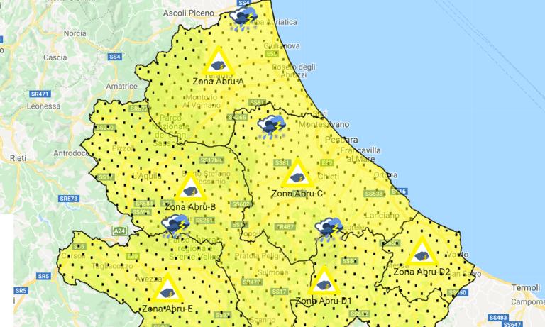 Maltempo in Abruzzo: allerta arancione per il 16 e 17 novembre