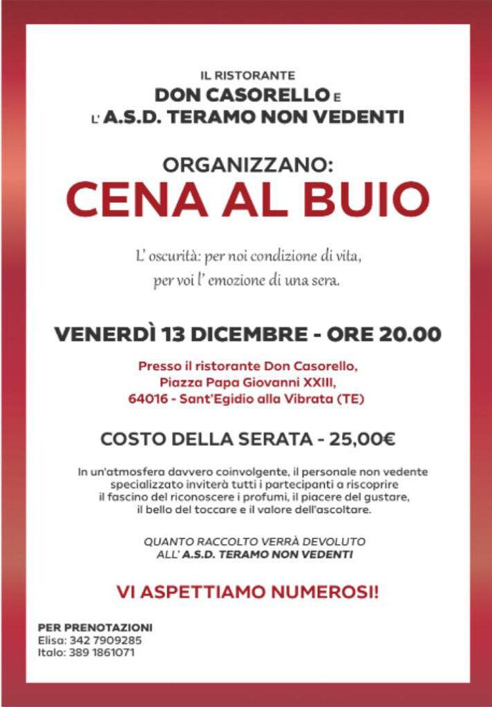 VENERDÌ' 13 DICEMBRE- UNA CENA DAL GUSTO DAVVERO SPECIALE da CASORELLO Ristorante Pizzeria - S.Egidio alla V.ta (TE)