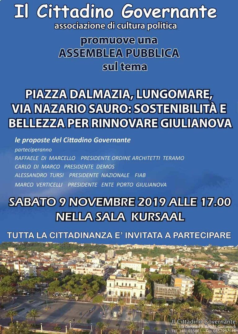 Giulianova, assemblea pubblica sulla riqualificazione di Piazza Dalmazia