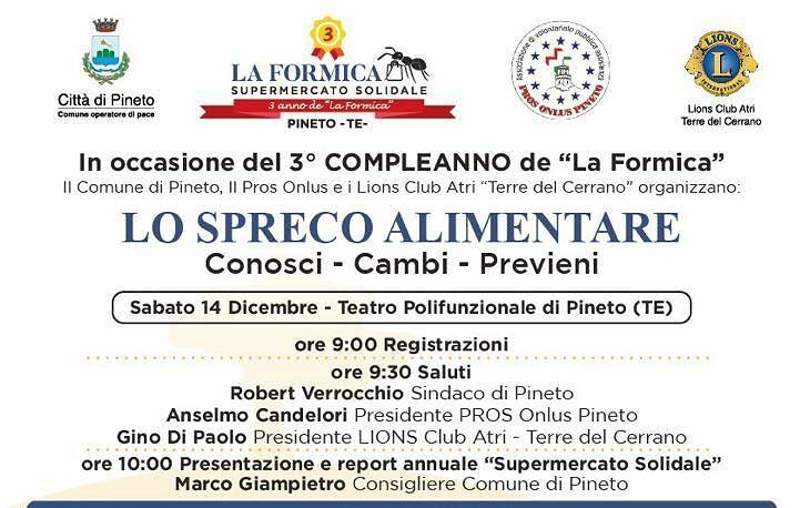 Pineto, workshop sullo spreco alimentare per i tre anni del supermercato solidale La Formica