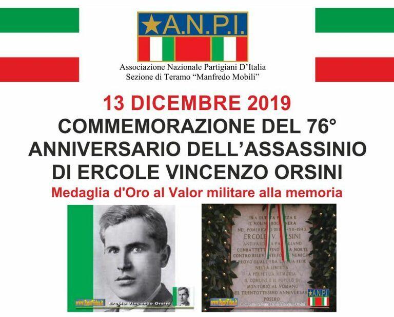 Montorio, la sezione ANPI Teramo ricorda il partigiano Ercole Vincenzo Orsini