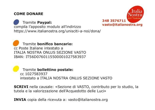 Vasto, Italia Nostra raccoglie donazioni per l'Acquedotto delle Luci di Histonium