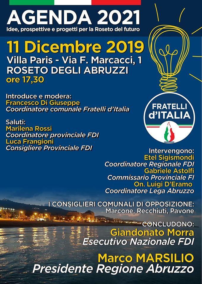 Agenda2021, FdI organizza incontro a Roseto con Marsilio e centrodestra unito