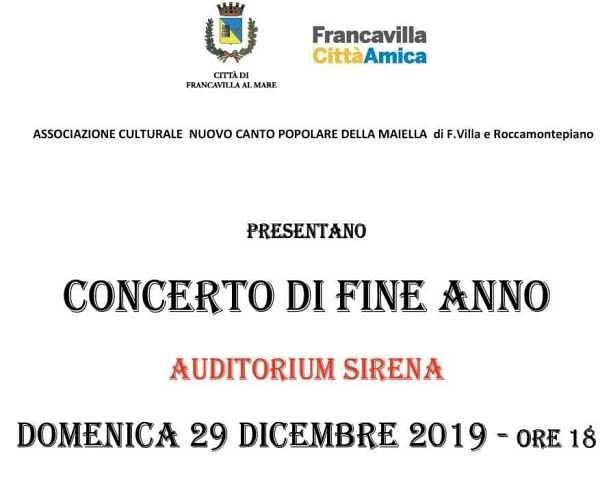 Francavilla, concerto internazionale di fine anno all'Auditorium Sirena