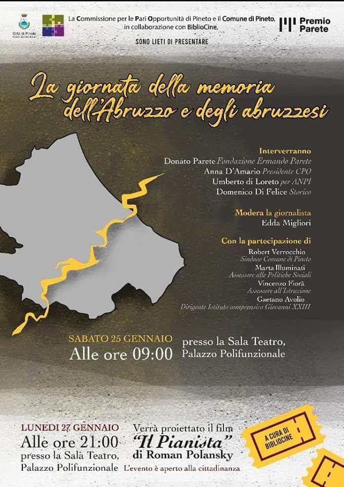 """Pineto, """"La giornata della Memoria dell'Abruzzo"""": l'incontro della CPO dedicato agli studenti"""