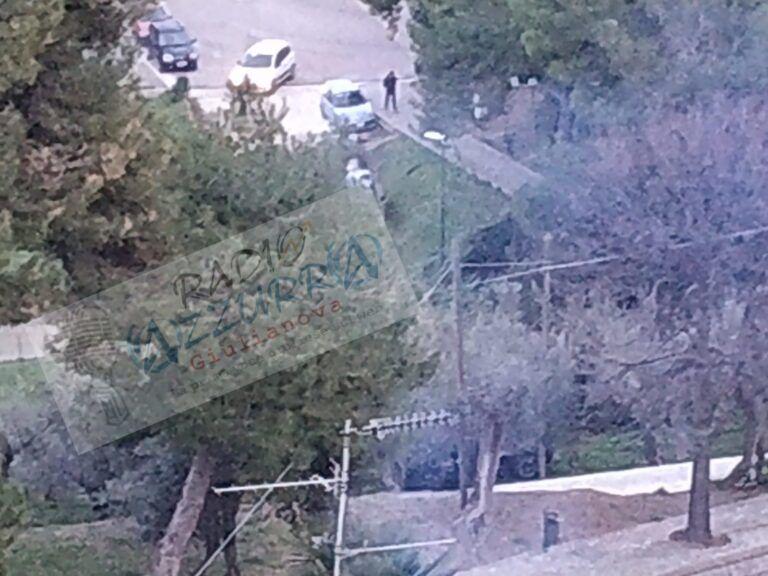 Giulianova, auto dei carabinieri si sfrena e finisce nel parco