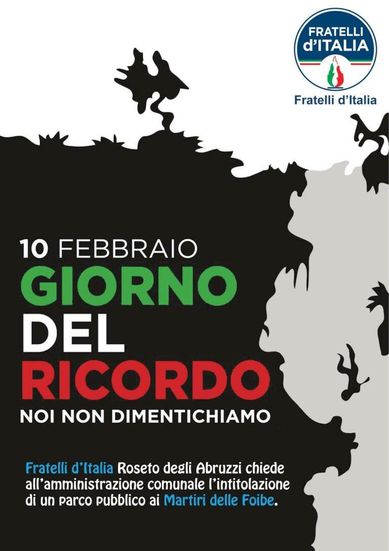 Roseto, Fratelli d'Italia chiede l'intitolazione di un parco ai Martiri delle Foibe