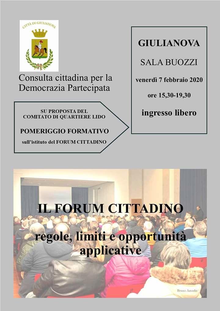 Giulianova, incontro formativo sull'istituto del Forum Cittadino