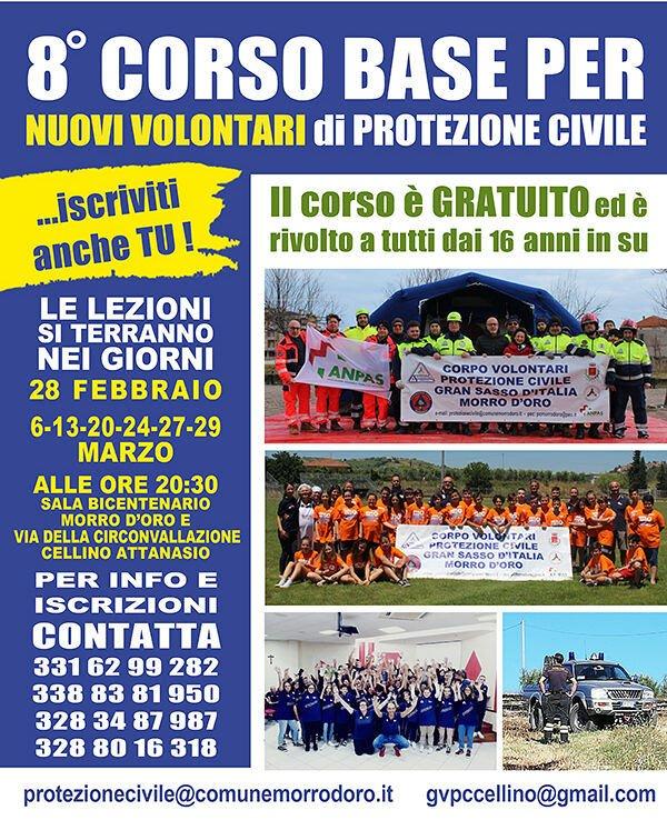 Protezione civile: corso gratuito a Pagliare di Morro d'Oro