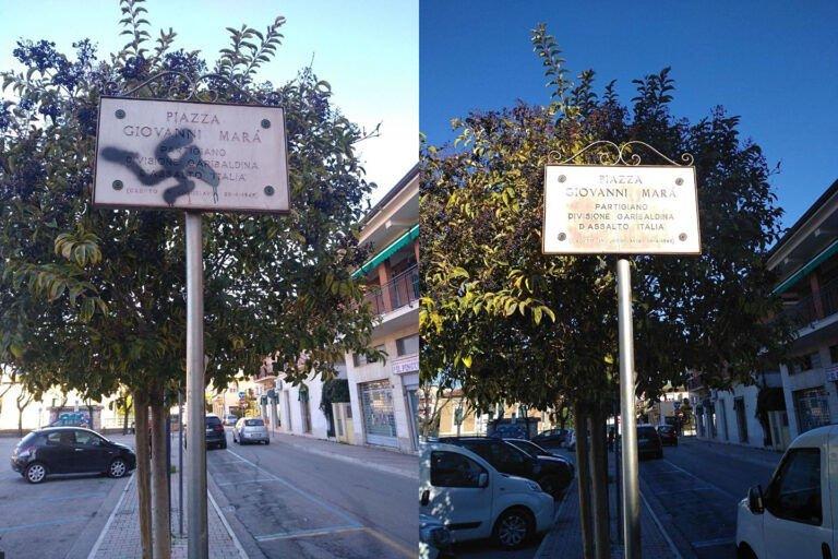 Giulianova, ragazzi del Campetto puliscono svastica su targa partigiano: ringraziamenti dell'Anpi