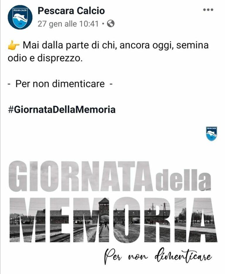 """Forconi contro il Pescara Calcio: """"Negazionisti e revisionisti"""""""
