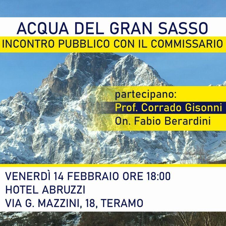 Acqua del Gran Sasso: incontro con il Commissario Gisonni a Teramo