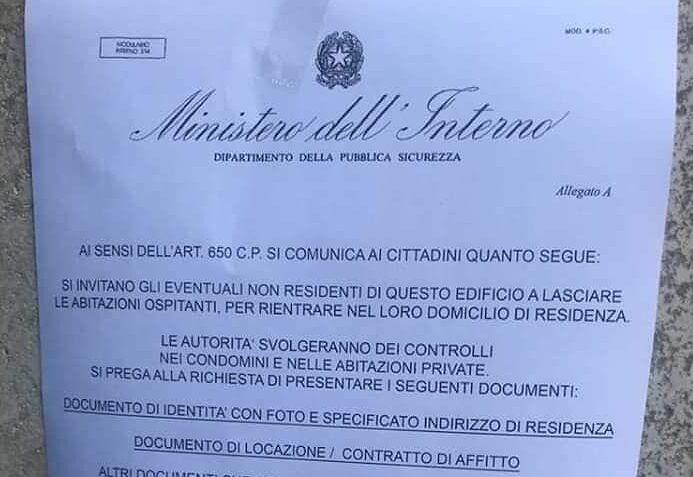 Falsi volantini del Ministero: la truffa dei controlli per il Coronavirus anche a Pescara-FOTO