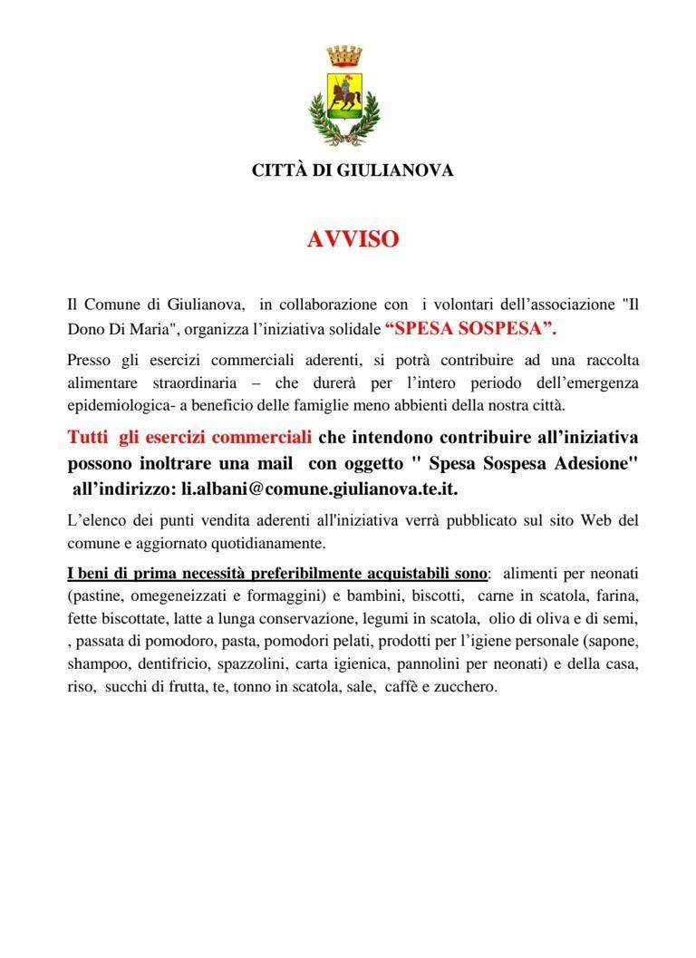 Coronavirus, appello ai commercianti di Giulianova per la 'spesa sospesa' SCARICA L'AVVISO
