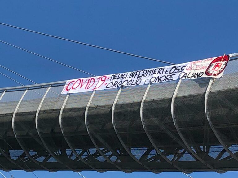 Pescara, Coronavirus: striscione sul Ponte del Mare per medici e infermieri