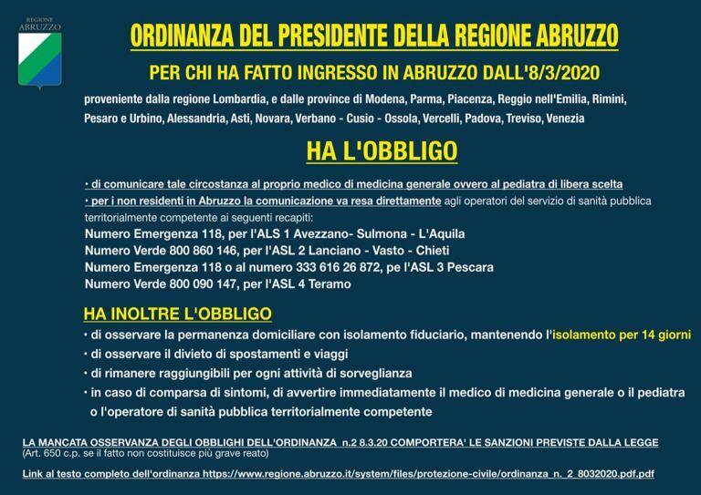 Coronavirus, l'ordinanza del presidente della Regione Abruzzo