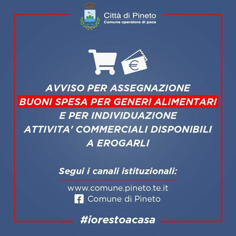 """Coronavirus Pineto: pubblicato l'avviso per l'assegnazione dei buoni spesa. Fratelli d'Italia: """"Ci sono criticità"""""""