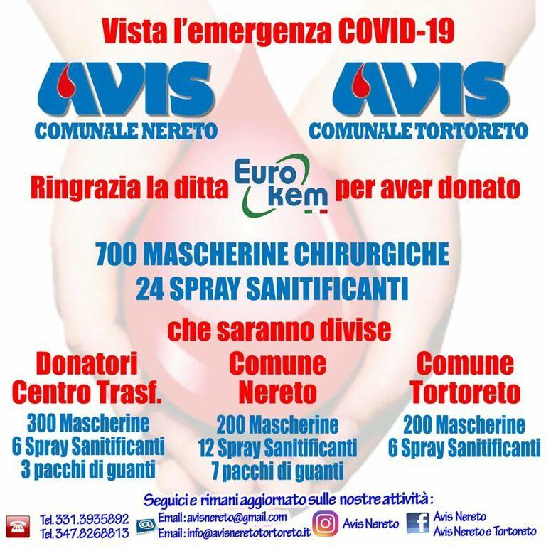 Mascherine per l'Avis e i Comuni di Nereto e Tortoreto: la donazione
