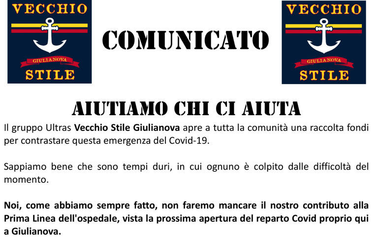 Coronavirus, raccolta fondi per l'ospedale di Giulianova contro il Covid19: un'idea del gruppo Ultras Vecchio Stile