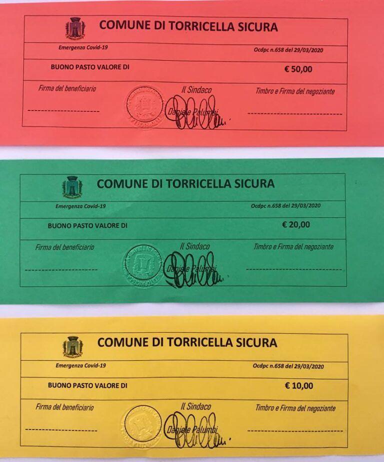 Coronavirus, Torricella Sicura: al via la consegna dei primi buoni spesa