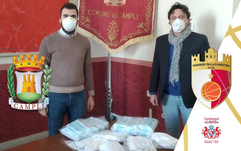 Campli, la pallacanestro Farnese dona 400 mascherine al Comune
