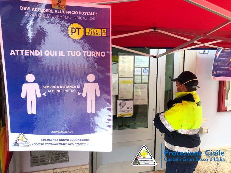 Covid19 Castelli, pensioni anticipate: i volontari della Protezione Civile a gestire l'affluenza alle Poste