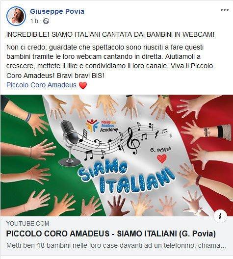 Siamo Italiani: Povia ringrazia i ragazzi del Piccolo Coro Amadeus