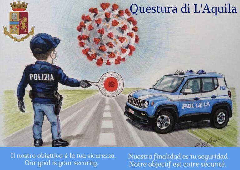 L'Aquila, arrestiamo il Covid19: la campagna di sensibilizzazione sui sociale della questura