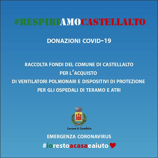 Coronavirus, RespiriAMOCastellalto: la raccolta fondi del Comune per gli ospedali di Teramo ed Atri