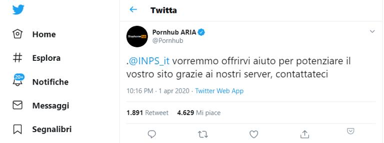 Pornhub offre aiuto per potenziare il sito dell'INPS via Twitter