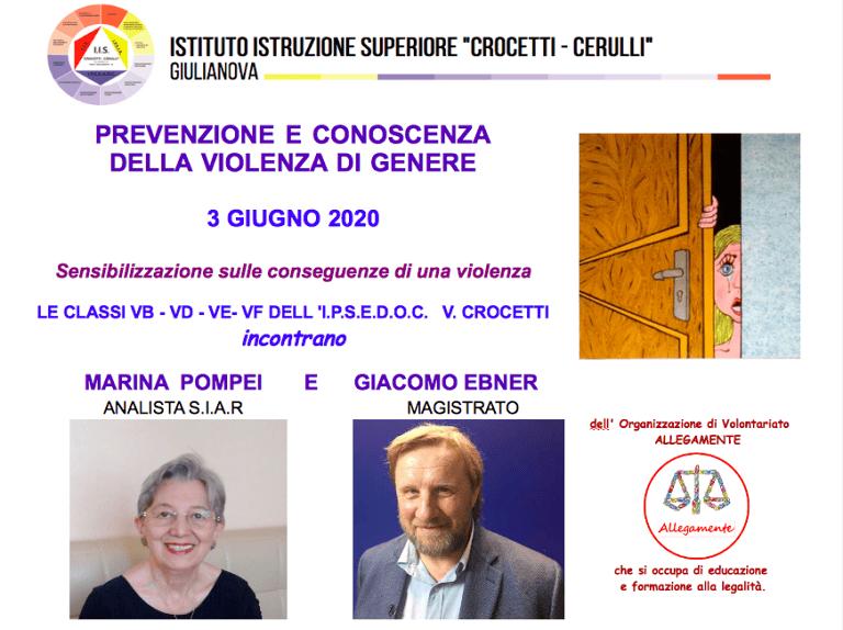 Giulianova, incontro a distanza per le classi quinte su 'Prevenzione e Conoscenza della Violenza di Genere'