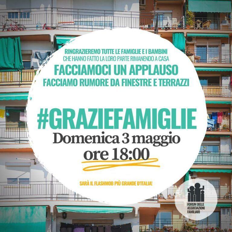 Fase 2 in Abruzzo: domenica 3 maggio alle 18 il flash mob #graziefamiglie
