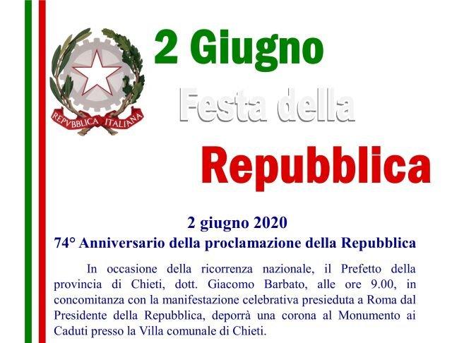 Chieti, Festa della Repubblica: il Prefetto Barbato deporrà una corona al Monumento ai Caduti
