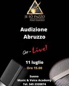 Sabato 11 luglio audizioni in Abruzzo per il premio Pino Daniele da Suono – Music & Voice Academy