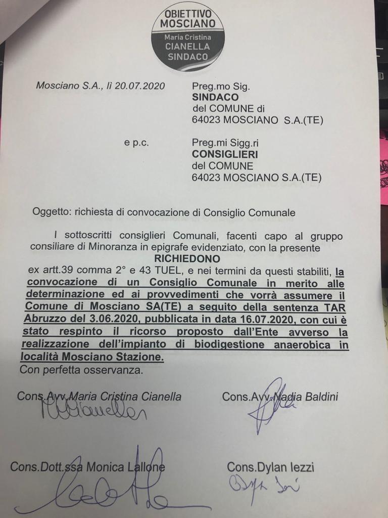 Obiettivo Mosciano chiede consiglio comunale per il Biodigestore