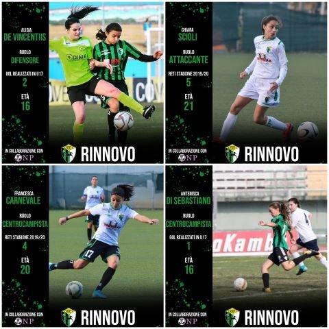 Altre conferme per la nuova stagione per il Chieti Calcio Femminile: saranno ancora in neroverde Carnevale, Scioli, De Vincentiis  e Di Sebastiano