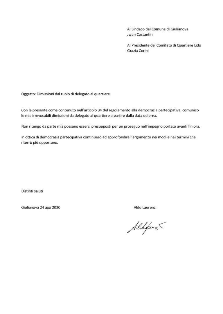 Giulianova, Aldo Laurenzi si dimette dal Comitato di Quartiere Lido: LA LETTERA