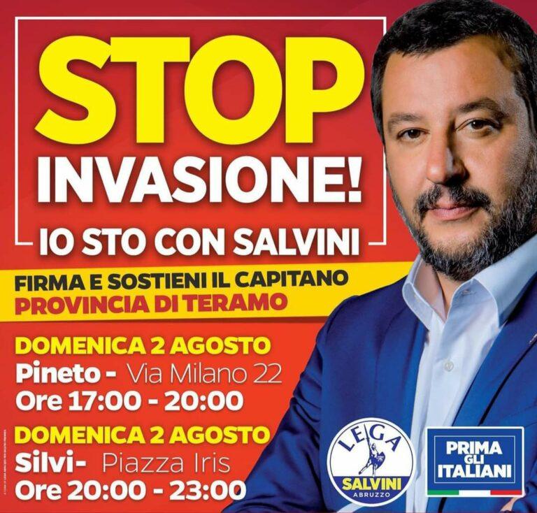La 'gazebata' della Lega contro lo sbarco degli immigrati fa tappa a Pineto e Silvi