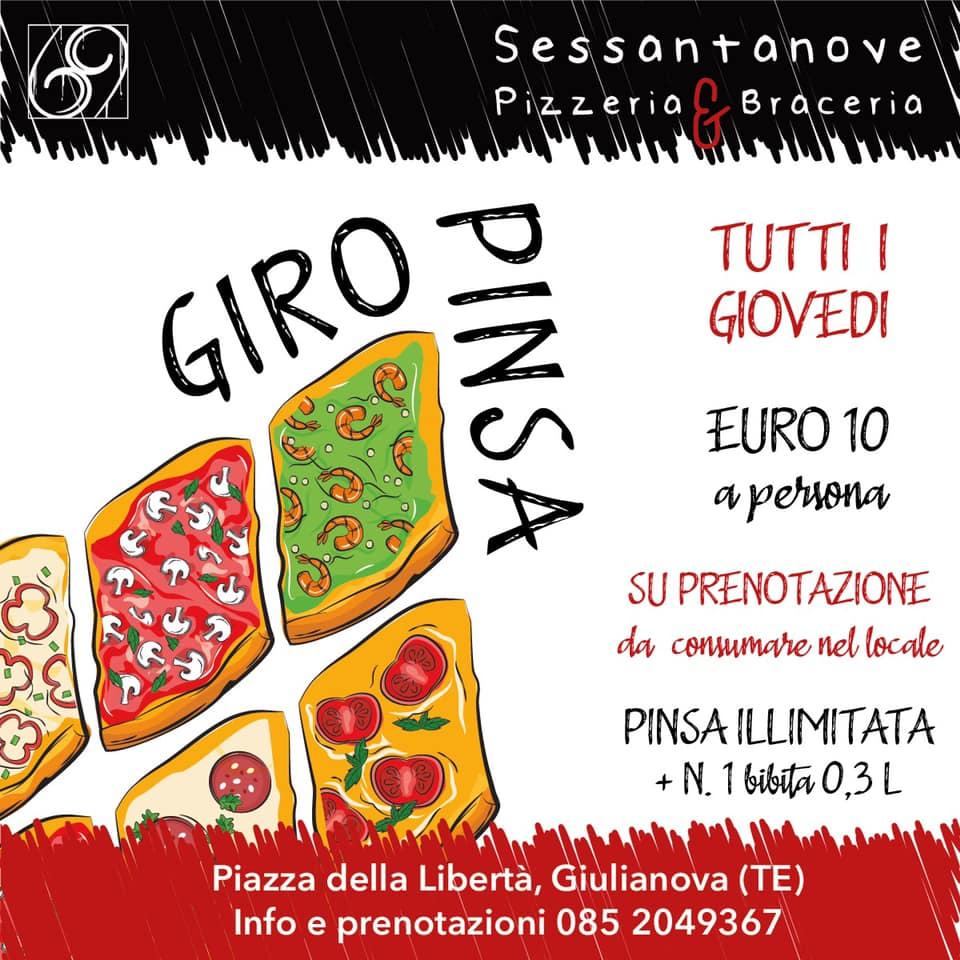 Pizzeria Sessantanove il GIOVEDI' GIRO PINSA! Prenota il tuo tavolo!