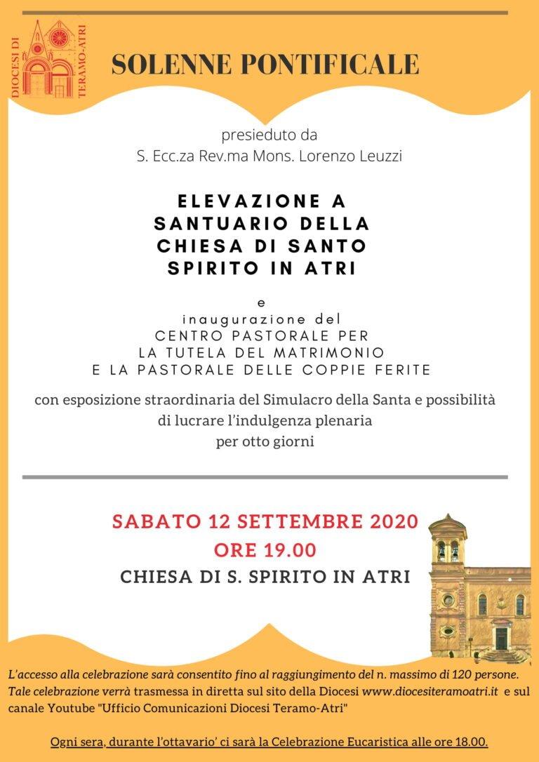 Atri, la chiesa del Santo Spirito diventerà un Santuario dedicato a Santa Rita da Cascia
