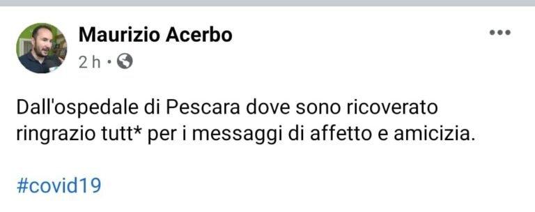 Pescara, Maurizio Acerbo positivo al Covid-19: ricoverato in ospedale